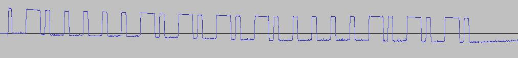 Señal vista en Audacity, mostrando la señal digital cuadrada