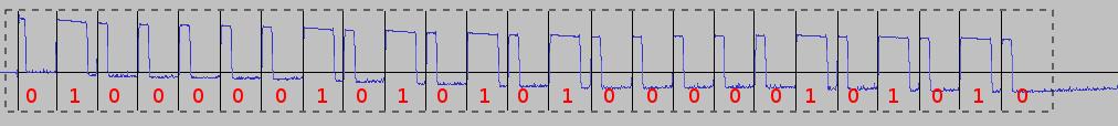 Señal vista en Audacity, mostrando la señal digital cuadrada y los bits decodificados