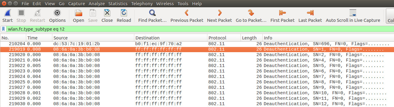 Wireshark screenshot with the result of applying the filter. The result is a long list of deauth packets sent by the attacker.