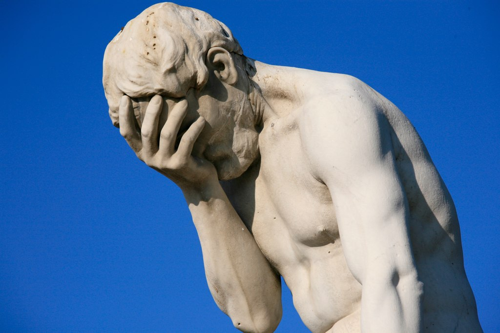 Facepalm (from https://upload.wikimedia.org/wikipedia/commons/3/3b/Paris_Tuileries_Garden_Facepalm_statue.jpg )