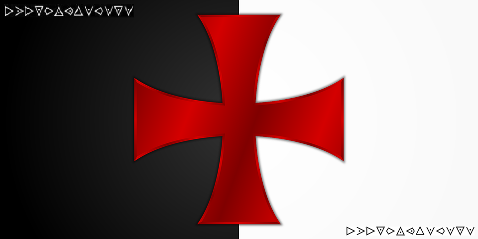 Una gran cruz patada (un símbolo Templario) con algunos símbolos raros, como triángulos con puntos dentro, en las esquinas.